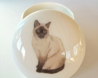 Small Siamese Cat Trinket Box