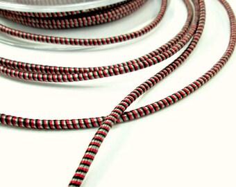 Striped red /black /grey silk cord, multicolor satin cord, 2 meters