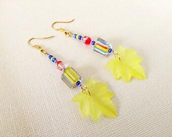 Leaf Earrings, Autumn Leaf Earrings, Glass Earrings, Autumn Earrings, Yellow Leaf Earrings, Fall Earrings, Dangle and Drop Earrings