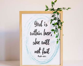 God is Within Her, She Will Not Fail / Psalm 46 / Digital Download