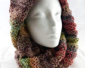 Infinity Scarf Versatile Chunky Striped Long Cowl Snood Circle Scarf Loop Scarf Neck Warmer Hood spring shades multi coloured handknitted