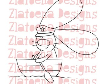 Captain Digital stamp, Nautical digital stamp, Nautical digi image, Nautical digi stamp, Sailor digi stamp, Vacation Digi stamp, Bunny image