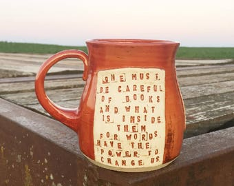 Large Shadowhunters Mug- One Must Be Careful of Books- Clockwork Angel- Cassandra Clare- Red, Gold-Pottery Handmade by Daisy Friesen