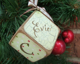 Vintage-style baby block ornament