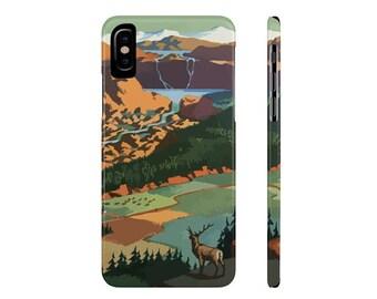 Phone Case Mate Slim Phone Cases Mountain View Deer Buck Vintage Design Woodland Custom iPhone Samsung