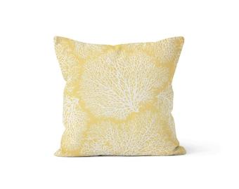Yellow Coral Pillow Cover - MH Coral Ariel - Lumbar 12 14 16 18 20 22 24 26 Euro - Hidden Zipper Closure