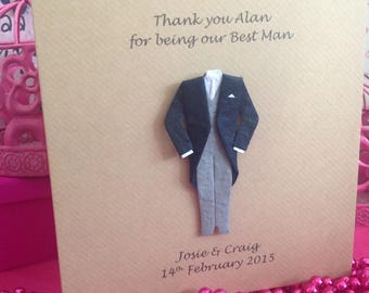 Thank You Best Man Card, Thank you wedding card, Best Man Card, Usher Card, Groomsman card, Page Boy, Witness, Dad, Witness Card,