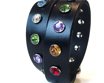 Black Leather Dog Collar with Big Jewel Tone Rhinestones, Size Large, to fit a 18-21in Neck, Large Dog, Eco-Friendly, Seattle Handmade, OOAK