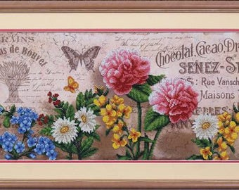 Bead embroidery kit, Aromas of France, needlepoint kit, 24,5x50 cm, embroidery kit or finished picture upon request, partial embroidery