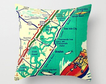 Jersey Shore Map Pillow | New Jersey | Asbury Park Avalon Long Branch Monmouth Beach House | Decorative Throw Pillow Cover | Retro Map Print