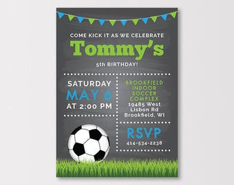 Soccer Birthday Invitation, Soccer Party Invitation, Soccer Birthday Printables, Soccer Party, Soccer Ball Invite, 5x7 inch Digital Download