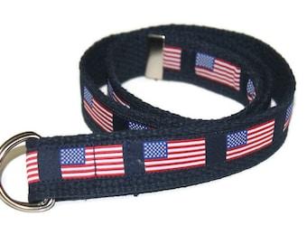 American Flag Belt- Adjustable D-Ring