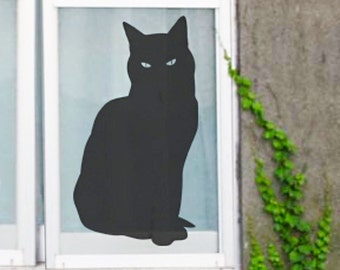 Cat Wall Sticker, Black Cat Window Cat Decal