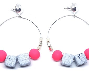 Fluorescent Statement Hoops ~ Silver Plated hoops with polymer clay beads