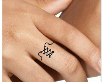 Temporary Tattoo Shoelace Finger 4 Fake Tattoos Thin Durable