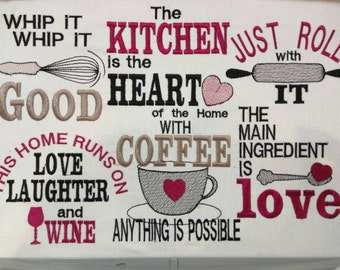 Kitchen Cute Quotes   Machine Embroidery Designs   4x4, 5x7 INSTANT DOWNLOAD