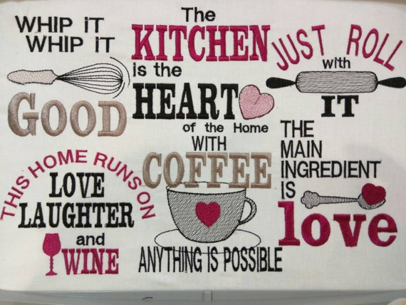 kitchen embroidery designs. Kitchen cute quotes  machine embroidery designs 4x4 5x7 INSTANT DOWNLOAD