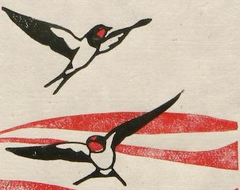 Swallows over Poppy Fields linocut print