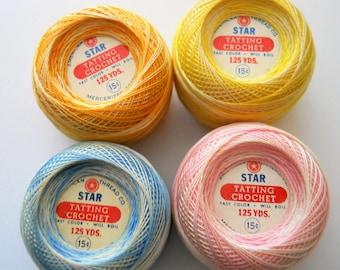 Vintage Crochet Thread - Star Tatting Crochet Thread Balls - Variegated Thread Variety - 1960s Sewing Supplies