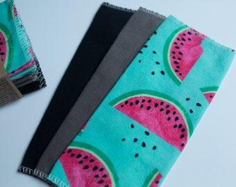 Unpaper Towels Cloth Napkins 12 Flannel Tissues  - Choose Your Size  - 1 PLY -  Watermelon