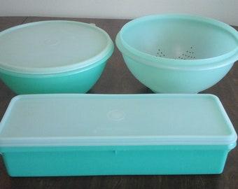 Vintage  green tupperware, celery keeer, bowl and strainer.