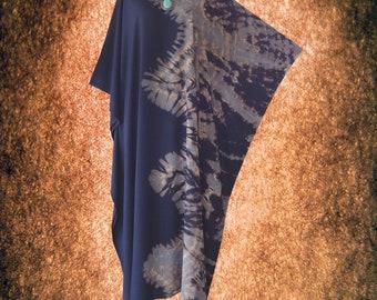 Shibori Bleached Tie dye Wearable Art Casual Kaftan Dress