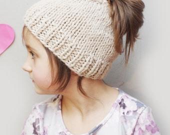 Messy bun hat, kids messy bun beanie, ponytail beanie, knit wool bun hat, natural white, ready to ship