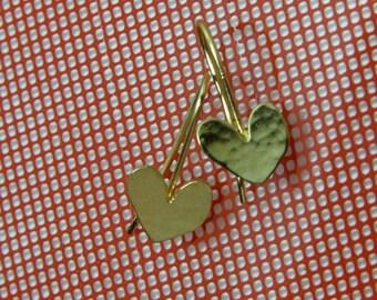 Wedding Heart Earrings,  Gold Heart Jewelry, 24K Gold Plated Earring , Wedding Earrings Gift, Gift For bride , bride Gold Heart Jewelry