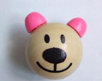 Wood Head Teddy bear 3D pink pacifier 30x24mm