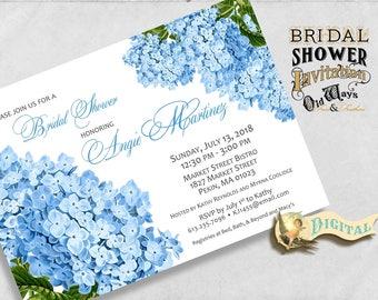 Printable Blue Hydrangea Bridal Shower Invitation - Cottage Chic Vintage Flowers - Custom Floral Invite DIY 5x7 Digital File PDF or JPEG
