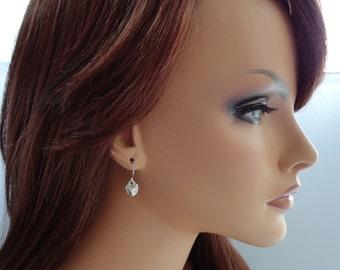 Tiny Silver Finished Puffy Heart Earrings - Simple Everyday Earrings - Heart Earrings