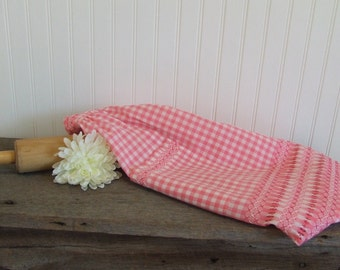 Pink Gingham Vintage Apron, Pink and White Apron, Pink Apron