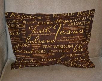 Travel Pillow Case / Accent Pillow Case of JESUS / CROSS / Religious Cross / Church / Faith