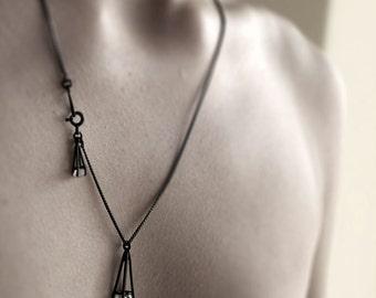 Auge - oxidiert Herkimer Diamant Halskette - oxidiertem Sterlingsilber mit zwei natürlichen Herkimer Diamanten