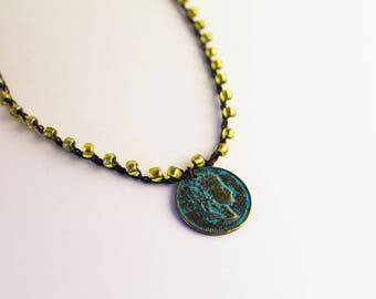 Ancient Coin Jewelry. Peridot Necklace. Greek Jewelry. Patina Jewelry. Roman Coin. Coin Choker. Peridot Bead Necklace. Gifts For Sister.