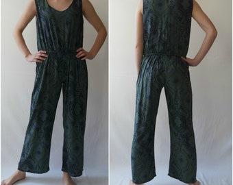 Vintage Women's  Dark Green Jumpsuit, Abstract Scart, Summer Jumpsuit, Sleeveless Jumpsuit, Green Overalls, Size M/L