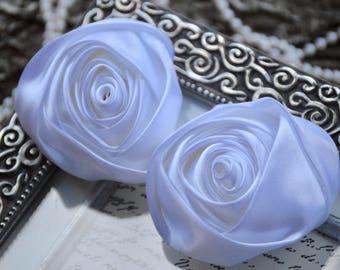 "3"" XLarge Satin Fabric Roses, Rolled Rosettes, White Satin Rolled Rosettes, Satin Roses, Rolled Satin Roses, Satin Flowers"