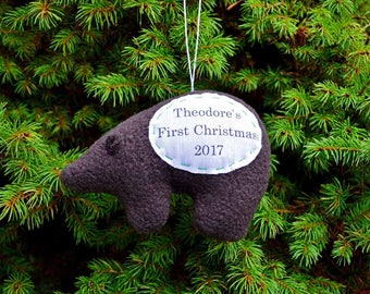 Bear Personalized Christmas Ornament, First Christmas Personalized Ornament, Custom Brown Bear Ornament