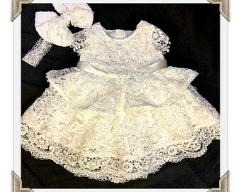 Baby girl Christening dress with Swarovski crystal