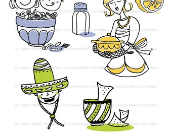 Retro Kitchen Goodies Part Two: Cooks and food, nachos and salsa, housewife digital clipart
