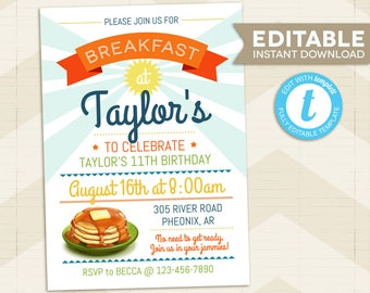 Birthday Breakfast Invitation / Breakfast Party Invitation / Pancake Breakfast / Pajama Party / digital printable /editable Instant Download