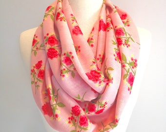 Pink Floral Infinity Scarf, Red Rose Pattern,  Spring Scarf, Indoor Scarf, Floral Loop, Mother's Day Gift, Gift for Her, Lightweight Scarf