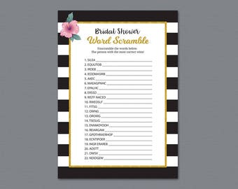 bridal word scramble game bridal shower games printable unscramble word search black white stripes wedding shower a014