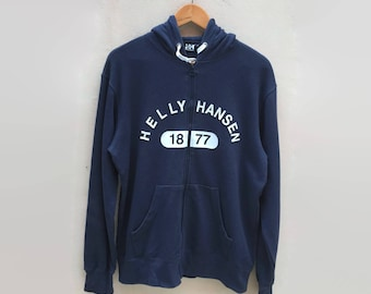 Helly Hanson Hoodie Big Embroidered Spell Out Logo Sweatshirts Jumper Pullover Size L 90s Rare