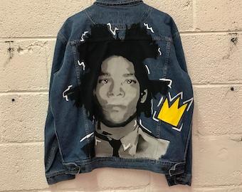 Jean Michel Basquiat Jean Jacket. Basquiat. Wearable Art. Jean-Michel. Denim Jacket. Custom Jean Jacket. Basquiat shirt. Basquiat crown.