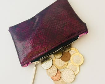 Snake Skin Faux Leather Coin Purse ,Money Purse , Small Zipper Pouch