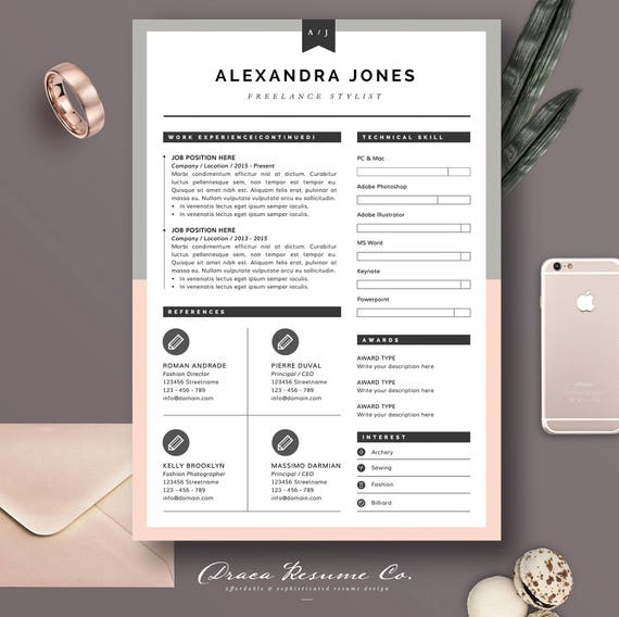 resume template 3pages for freelancer stylist cv template
