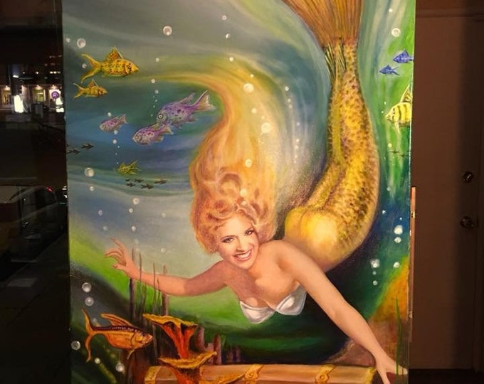 Featured listing image: MERMAID MY TREASURE 20x26 Canvas Vancas Girl Pin-Up Tiki, Beach, Hula Sea -  Daniel Vancas famous Elvgren Vargas Style Pinup Sea, Beach Home