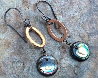 ABALONE earrings, Copper jewelry, shell earrings, COPPER earrings oxidized sterling silver earrings, mixed metals, artisan jewelry, handmade