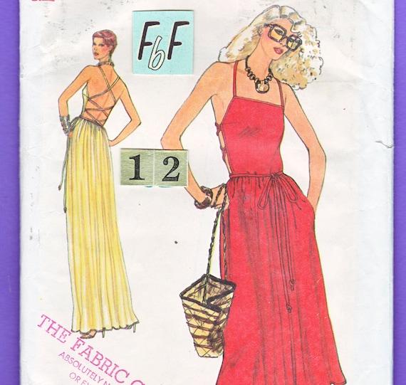 Easy Summer, Backless Evening Dress, Sundress Sewing Pattern/ 1970s ...